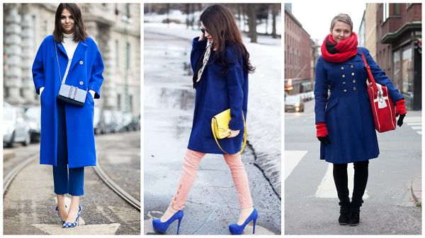 Что одеть под синее пальто
