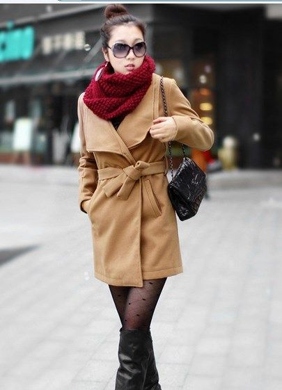 Как носить пальто с толстым кашемировым палантином